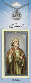 St Peter Prayer Card with Pewter Medal