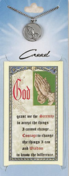 Praying Hands Prayer Card with Pewter Medal