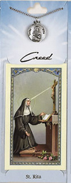 St Rita Prayer Card with Pewter Medal
