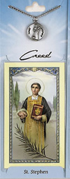 St Stephen Prayer Card with Pewter Medal