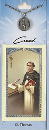 St Thomas Aquinas Prayer Card with Pewter Medal
