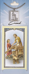 St Joseph the Worker Prayer Card with Pewter Medal