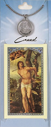 St Sebastian Prayer Card with Pewter Medal