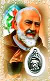 Padre Pio Laminated Prayer Card with Medal