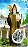 St Benedict Laminated Prayer Card with Medal