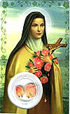 St Theresa Laminated Prayer Card  with Petals