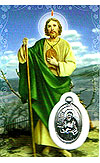 St Jude Laminated Prayer Card with Medal