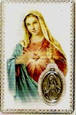 Immaculate Heart Prayer Card with Medal