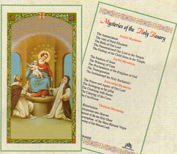 Holy Rosary Mysteries Laminated Prayer Card
