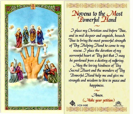 Novena to the Most Powerful Hand | Laminated Novena Prayer Card