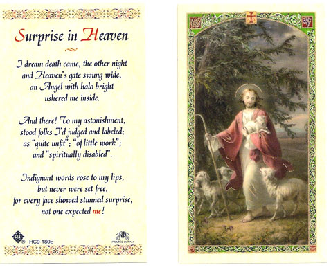 Suprise in Heaven Laminated Prayer Card