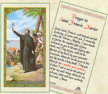 PRAYER TO ST. FRANCIS XAVIER