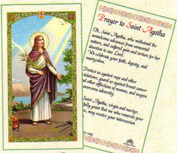 Saint Agatha Laminated Prayer Card