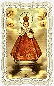 Infant of Prague Linen Prayer Card