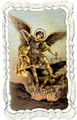 St Michael Linen Prayer Card