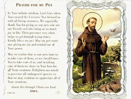 Prayer For My Pet Linen Prayer Card