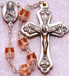 Double Capped Pink Glass Bead rosary