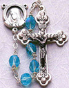Tin Cut Crystal Rosary- Aqua