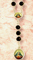 Five Wounds Black Wood Bead Rosary