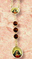Five Wounds Brown Wood Bead Rosary