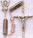 Mysteries Pink Rosary with Square Metal Bars