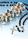 Black Rosary and Case With Mysteries Pamphlet