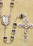 Black Glass Bead Double-Capped Rosary