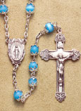 Light Blue Pearl Capped Bead Rosary
