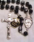 Black Cocoa Wood Rosary with Square Beads