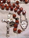 Brown Cocoa Wood Cube Bead Rosary