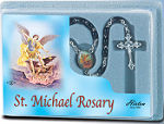 St Michael Black Wood Bead Rosary