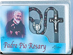 Padre Pio Brown Wood Bead Rosary