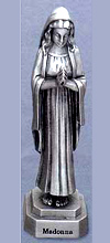 Madonna Praying Pewter Statue