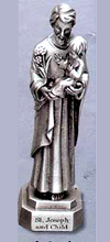St Joseph and Child Pewter Statue