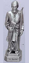 St Justin Pewter Statue