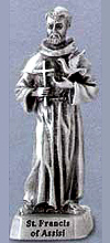 Small St Francis of Assisi Pewter Statue