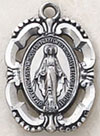 .875 Inch Oval Intricate Blessed Virgin Medal