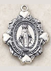 .75 Inch Miraculous Medal with Hearts