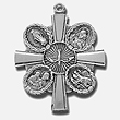 Sterling Silver Medal Ornate 4 Way Cross