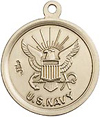 .75 Inch Round Silver Navy St Christopher Medal - Sterling Silver
