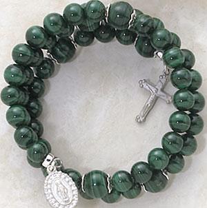 5 Decade Faux Malachite Wrap Around Bracelets