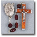 6 mm x 9 mm Oval Genuine Cocoa Beads-Maroon Crucifix Rosary