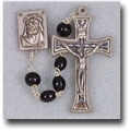 Oval Wood Beads Black Rosary