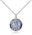 Blue Enamel Sterling Silver St Christopher Medal on 18 Inches Chain