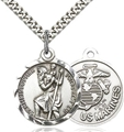 Marine Corps Round Silver St. Christopher Medal