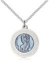 Blue Enamel St Christopher Medal on 18 Inches Chain