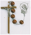 Brown Carved Wood Bead Rosary