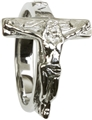Large Sterling Silver Crucifix Ring, size 7 - 12