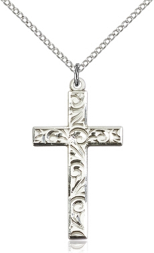 125 inches filigree style sterling silver cross pendant on chain aloadofball Images