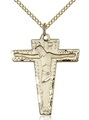 1.75 Inch Primative Gold Filled Crucifix Pendant